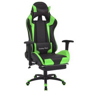 Gaming Stuhl Bürostuhl Racing Stuhl mit Fußstütze Ergonomischer Chefsessel Computerstuhl 360° drehbar Lehnstuhl Kunstleder höhenverstellbar Schreibtischstuhl mit lendenkissen Grün