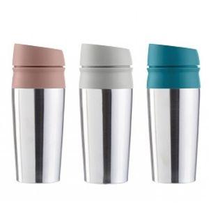 Thermobecher Edelstahl Isolierflasche 450ml mit Druckverschluß Thermoskanne für Kaffee, Tee, Kakao und weiteren Heißgetränken.