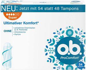 o.b. ProComfort Super Tampons Dynamic Fit Technologie SilkTouch Komfort 54 Stück