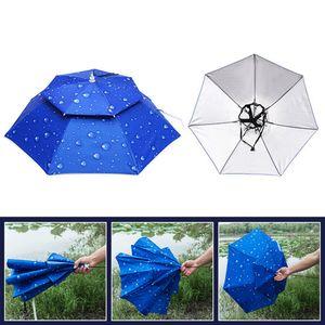 Angelkappe Outdoor Sport Regenschirm Hut Wandern Camping Kopfbedeckung Cap Kopf Hüte Faltbarer Sonnenschutz Schatten Regenschirm Hut, 1 Schicht