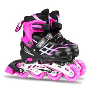 Verstellbare Inline-Skates mit leuchtenden Raedern fuer Kinder und Erwachsene Inline-Skates mit Schutzausruestung Knieschuetzer Ellbogenschuetzer Helm-Skating-Zubehoer