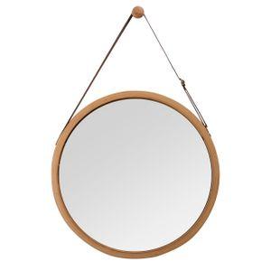 Wandspiegel Rund Flur Spiegel Badspiegel mit Verstellbarer Lederband 45cm