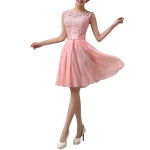 Neue Art und Weise Frauen-Chiffon- Spitze-Kleid Sleeveless O Ansatz Normallack-elegante Prinzessin Party-KleidS Abendkleider