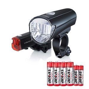 Luxtra Fahrradlampen l Fahrradleuchten l Fahrradlicht-Set  mit einem extra hellem Front,- & Rücklicht l batteriebetrieben l wasserresistent l StVZO kompatibel 30 LUX