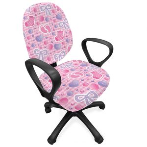 ABAKUHAUS Baby Bürostuhl Schonbezug, Bögen und Knöpfe Band, dekorative Schutzhülle aus Stretchgewebe, Pale Pink Mauve