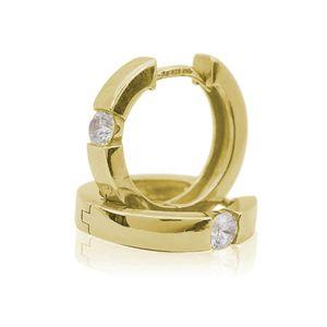 Ohrringe Creolen 925 Sterling Silber gelbvergoldet mit Zirkonia 17mm