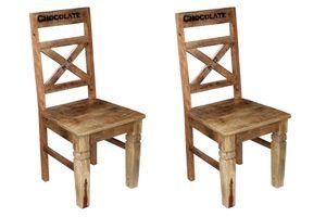 SIT Möbel Stuhl 2er Set | lackiertes Mangoholz | natur-antik | B 45 x T 45 x H 100 cm | 01912-04 | Serie RUSTIC