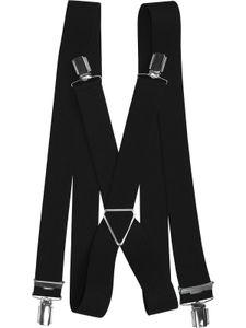 Hosenträger mit 4 Clips Metallkreuz, Größen:120 cm, Farben:schwarz