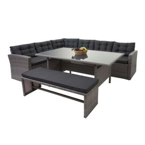 Poly-Rattan-Garnitur HWC-A29, Gartengarnitur Sitzgruppe Lounge-Esstisch-Set Sofa  grau, Kissen grau + Bank