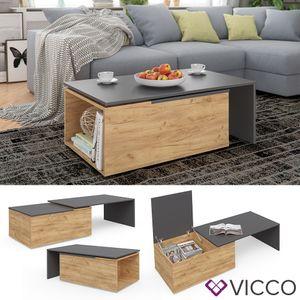 Vicco Couchtisch LEO in Anthrazit Sandeiche Optik - Wohnzimmer Sofatisch Kaffeetisch