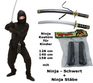 Kostüm Ninja mit Schwert + Stäbe  - Ninja komplett 116 cm - 164 cm S - 128 cm