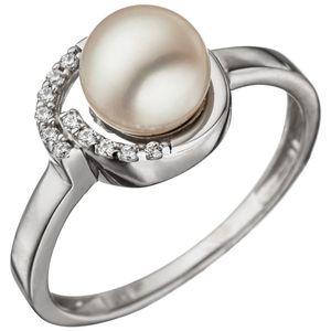 JOBO Damen Ring 54mm 925 Sterling Silber mit 1 Süßwasser Perle und Zirkonia Perlenring