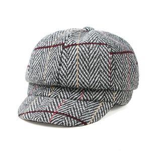 Mode Herbst Winter Frauen Plaid Baumwolle Flat Cap Schirmmütze Casual Beret Cap, Farbe: Heather Grey