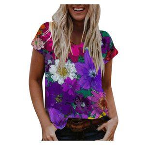 Damen lässig Boho Blumendruck Kurzarm lose T-Shirt Bluse Top Größe:M,Farbe:Bunt