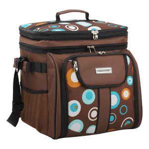 anndora Picknicktasche braun retro Kühltasche inkl. Zubehör 4 Personen 29 Teile - braun blau