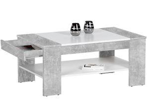 """Couchtisch Wohnzimmertisch Sofatisch Beistelltisch Kaffeetisch Tisch """"Ariela I"""" Beton/weiß"""