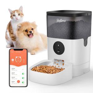 Balimo 4L Wifi Automatischer Futterautomat für Katzen und Hunde, 10s Soundaufnahmefunktion, 1-4 Mahlzeiten pro Tag, Weiß+Schwarz