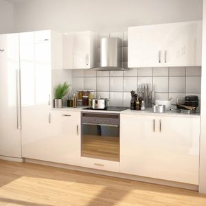 7-tlg. Küchenzeile Küche Küchenblock Einbauküche | Set mit Dunstabzugshaube Hochglanz Weiß | 45588