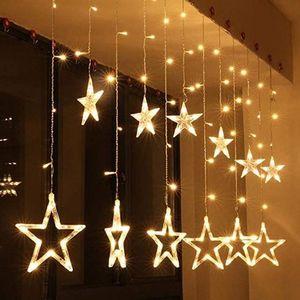 LED Lichterkette mit LED Kugel 12 Sterne 138 Leuchtioden Lichtervorhang Sternenvorhang 8 Modi Innen & Außenlichterkette Dekoration für Weihnachten Deko Party Festen - Warmweiß
