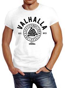 Herren T-Shirt Valhalla Runen Vikings Wikinger Slim Fit Neverless® weiß L