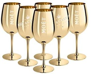 6x Ice Imperial Champagnerglas Echtglas Gold - Champagne Moët & Chandon Moet Champagner Glas Imperial