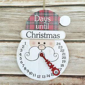 Weihnachts Dekoration Countdown Weihnachts-Adventskalender Frohe Weihnachten Holz Wanduhr-Kalender Wandbehang Feiertags-Wanddekor (Weihnachtsmann)