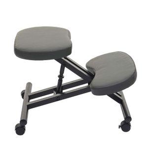 Kniestuhl MCW-E10, Sitzhocker Kniehocker, höhenverstellbar Rollen Kunstleder Metall  dunkelgrau matt
