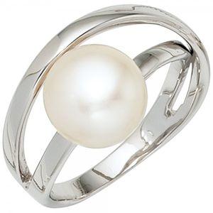 JOBO Damen Ring 925 Sterling Silber rhodiniert 1 Süßwasser Perle Silberring Größe 62