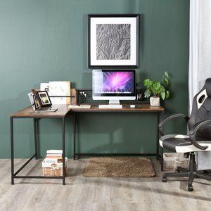 FURNITURER Computertisch Schreibtisch Ecktisch PC Eckschreibtisch Bürotisch  165x110x75-95 cm für Hause & Büro - Vintage Braun