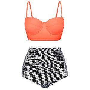 Frauen Sexy Badeanzug mit hoher Taille Bikini Set Zweiteiliger Trandkleidung Sommerbadebekleidung,Farbe:Orange,Größe:XL