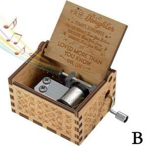 Retro Holz Musik Box Hand Kurbel Gravierte Musical Spielzeug Geburtstag Valentine Geschenke