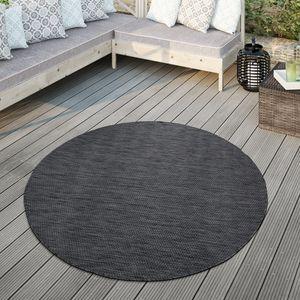 Teppich Für Outdoor Küchenteppich Balkon Terrasse Unifarbenes Design Modern, Farbe:Anthrazit, Größe:Ø 80 cm Rund