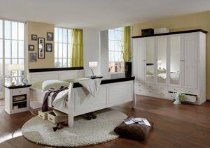 Steens - Monaco Schlafzimmer Bett 180x200 cm, 2 NaKs, Kleiderschrank 5-türig - Material: Kiefer - Verarbeitung: White-Wash/kolonial gebeizt