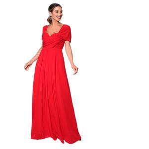 Krisp Damen Abendkleid mit Faltenwurf, Off-Shoulder-Stil, lang KP136 (36 DE) (Rot)