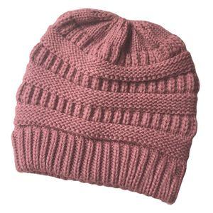 Womens Messy Bun Pferdeschwanz Häkeln Gestrickte Winter Beanie Mütze Cap Pink Farbe Rosa