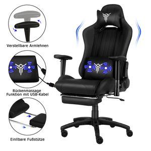Puluomis Massage Racing Gaming Stuhl Bürostuhl Chefsessel Schreibtischstuhl mit Kopfstützen höhenverstellbarer Computerstuhl (Schwarz)