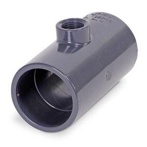 Mega T-Stück 90° PVC-U 50 mm x 1/2 Zoll x 50 mm Klebemuffe x Innengewinde x Klebemuffe 10 bar Grau