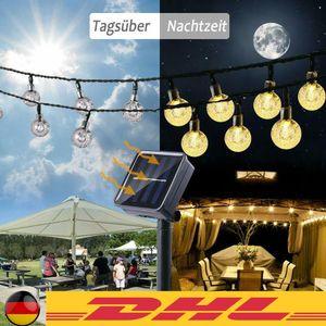 LED Außen Lichterkette Solar Outdoor 6.5 Meter 30 Lampions IP65 Wasserfest Deko Solar/Akkubetrieben Garten Terrasse Balkon ,Mehrfarbig