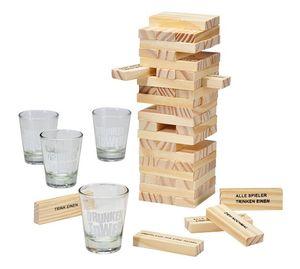 Trinkspiel Wackelturm + 4 Gläser Stapelturm Geschicklichkeitsspiel Partyspiel