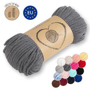 Kordel baumwolle Baumwollkordel 5 mm - Baumwollgarn Baumwollschnur Schnur NATUR GARN deko für makramee 50 Meter GRAU