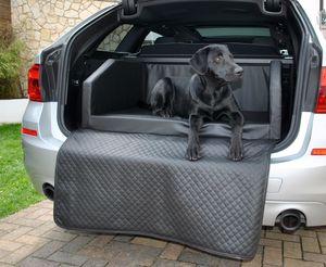 Hundebett Kofferraum Bett Schwarz L (100x80x38cm) Travel Autohundebett Schutzdecke Kunst Leder Autositz