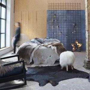 Teppich Echtes Kuhfell Schwarz 150×170 cm