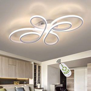 ZMH LED Deckenleuchte Wohnzimmer Moderne LED Deckenlampe Dimmbar mit Fernbedienung 65 Watt Kreative Wohnzimmer Lampe aus Metall in Schmetterlingforming, Led Deckenleuchte in Weiß [Energieklasse A++]