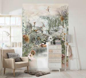 """Komar Fototapete """"Fable"""", bunt, Blumen und zwitschernde Vögel, 184 x 254 cm"""