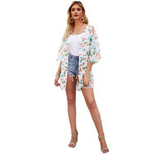 Mode Frauen Blumendruck Strickjacke Halbarm Open Front Beachwear Lose Casual Bluse Kimono Top