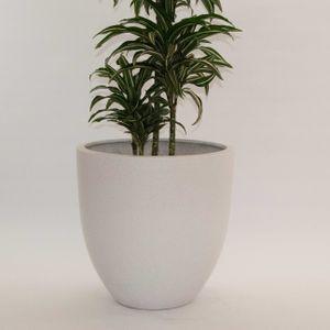 Pflanzkübel Fiberglas, rund konisch D60xH60cm perlmutt weiß.