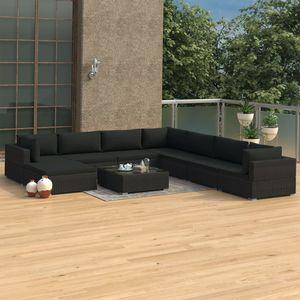 Hochwertigen Garten Sitzgruppe Gartengarnitur - 9-teiliges Garten-Lounge-Set - Gartengarnitur Set mit Auflagen Poly Rattan Schwarz☆5728