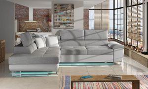 Mirjan24 Ecksofa Cotere LED, Stilvoll L-Form Schlafsofa mit Bettkasten, Polsterecke vom Hersteller (Farbe: Soft 017 + Bristol 2460 + Soft 017, Seite: Links)