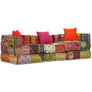 Möbel® 3-Sitzer Modularer Pouf Hochwertiger & komfortabel Bodenkissen,Sitzpouf Lounge Sofa,Sofabett,Gästebett, Patchwork Stoff🐳1324