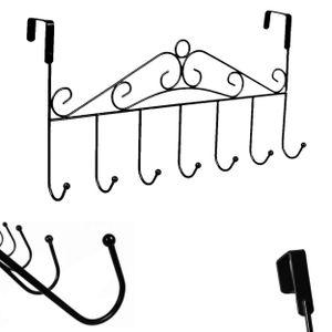 42,5cm Türgarderobe Metall für Montage über der Tür | Kleiderhaken mit 7 Haken | Türhakenleiste | Garderobenhaken Türleiste | Kleiderhalter für die Tür | Türhängeleiste ohne Bohren | [schwarz]